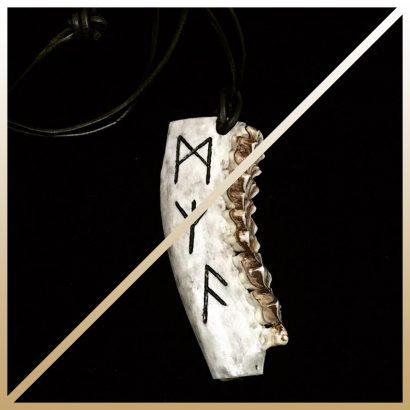 """Deer Necklace """"ᚺ ᛗ ᛉ ᚨ"""" II"""